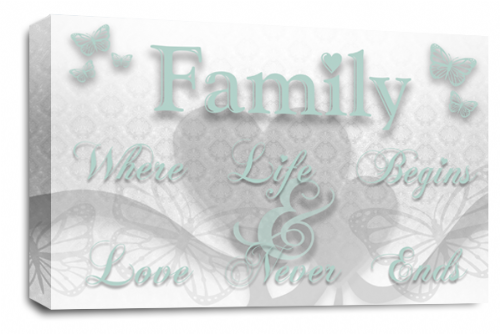 Family Quote Wall Art Picture White Duck Egg Grey Love Print